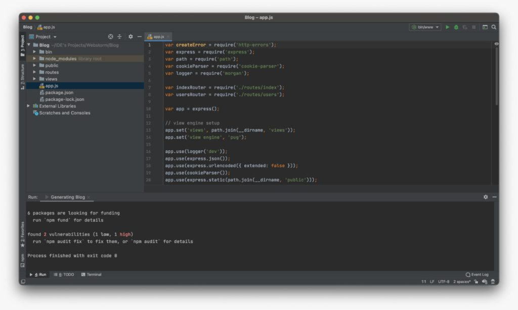 node js project opened in webstorm